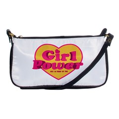 Girl Power Heart Shaped Typographic Design Quote Evening Bag by dflcprints