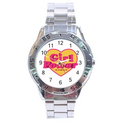 Girl Power Heart Shaped Typographic Design Quote Stainless Steel Watch by dflcprints