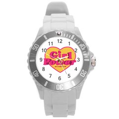 Girl Power Heart Shaped Typographic Design Quote Plastic Sport Watch (large) by dflcprints