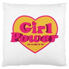 Girl Power Heart Shaped Typographic Design Quote Large Cushion Case (two Sided)  by dflcprints