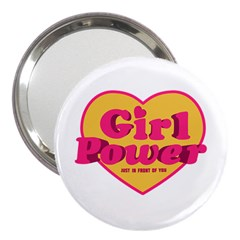Girl Power Heart Shaped Typographic Design Quote 3  Handbag Mirror by dflcprints