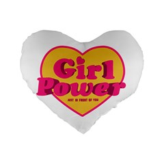 Girl Power Heart Shaped Typographic Design Quote 16  Premium Heart Shape Cushion  by dflcprints