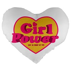 Girl Power Heart Shaped Typographic Design Quote 19  Premium Heart Shape Cushion by dflcprints