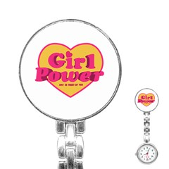 Girl Power Heart Shaped Typographic Design Quote Stainless Steel Nurses Watch by dflcprints