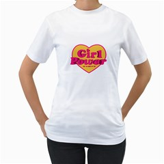 Girl Power Heart Shaped Typographic Design Quote Women s T Shirt (white)  by dflcprints