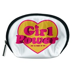 Girl Power Heart Shaped Typographic Design Quote Accessory Pouch (medium) by dflcprints
