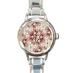 Red Deco Geometric Nature Collage Floral Motif Round Italian Charm Watch by dflcprints