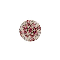 Red Deco Geometric Nature Collage Floral Motif 1  Mini Button by dflcprints