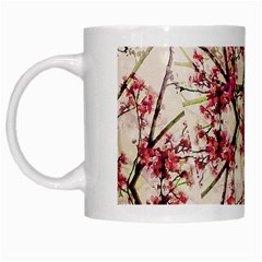 Red Deco Geometric Nature Collage Floral Motif White Coffee Mug by dflcprints