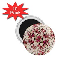 Red Deco Geometric Nature Collage Floral Motif 1.75  Button Magnet (10 pack) by dflcprints