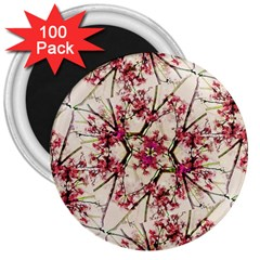Red Deco Geometric Nature Collage Floral Motif 3  Button Magnet (100 Pack) by dflcprints