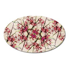 Red Deco Geometric Nature Collage Floral Motif Magnet (oval) by dflcprints