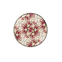 Red Deco Geometric Nature Collage Floral Motif Golf Ball Marker 4 Pack (for Hat Clip) by dflcprints