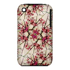Red Deco Geometric Nature Collage Floral Motif Apple Iphone 3g/3gs Hardshell Case (pc+silicone) by dflcprints