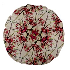 Red Deco Geometric Nature Collage Floral Motif 18  Premium Round Cushion  by dflcprints