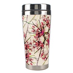 Red Deco Geometric Nature Collage Floral Motif Stainless Steel Travel Tumbler by dflcprints