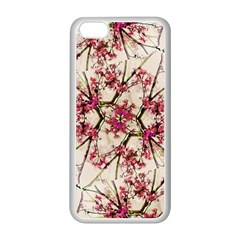 Red Deco Geometric Nature Collage Floral Motif Apple Iphone 5c Seamless Case (white)