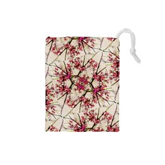 Red Deco Geometric Nature Collage Floral Motif Drawstring Pouch (Small) by dflcprints