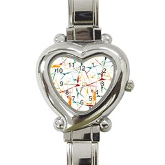 Colorful Splatter Abstract Shapes Heart Italian Charm Watch  by dflcprints