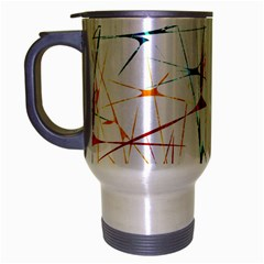 Colorful Splatter Abstract Shapes Travel Mug (silver Gray) by dflcprints