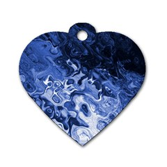 Blue Waves Abstract Art Dog Tag Heart (two Sided) by LokisStuffnMore