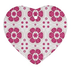 Sweety Pink Floral Pattern Heart Ornament by dflcprints