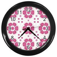 Sweety Pink Floral Pattern Wall Clock (black) by dflcprints