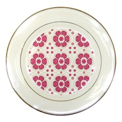 Sweety Pink Floral Pattern Porcelain Display Plate by dflcprints