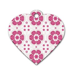 Sweety Pink Floral Pattern Dog Tag Heart (two Sided) by dflcprints