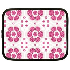 Sweety Pink Floral Pattern Netbook Sleeve (large) by dflcprints