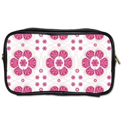 Sweety Pink Floral Pattern Travel Toiletry Bag (two Sides) by dflcprints