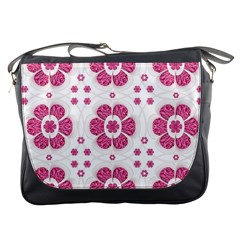 Sweety Pink Floral Pattern Messenger Bag by dflcprints