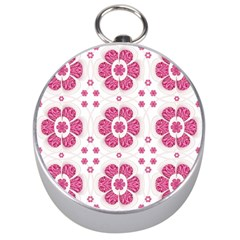 Sweety Pink Floral Pattern Silver Compass by dflcprints