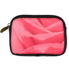 Pink Silk Effect  Digital Camera Leather Case by Colorfulart23