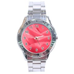Pink Silk Effect  Stainless Steel Watch by Colorfulart23