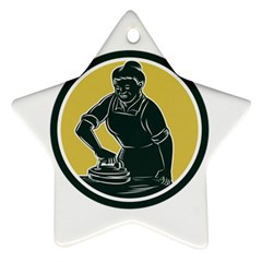 African American Woman Ironing Clothes Woodcut Star Ornament by retrovectors