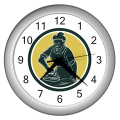African American Woman Ironing Clothes Woodcut Wall Clock (silver) by retrovectors