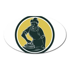 African American Woman Ironing Clothes Woodcut Magnet (oval) by retrovectors