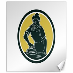 African American Woman Ironing Clothes Woodcut Canvas 20  X 24  (unframed) by retrovectors