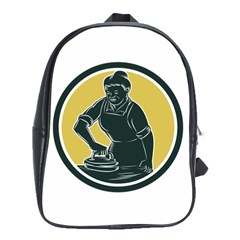 African American Woman Ironing Clothes Woodcut School Bag (large) by retrovectors