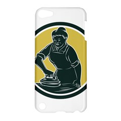 African American Woman Ironing Clothes Woodcut Apple Ipod Touch 5 Hardshell Case by retrovectors