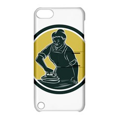 African American Woman Ironing Clothes Woodcut Apple Ipod Touch 5 Hardshell Case With Stand by retrovectors