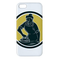 African American Woman Ironing Clothes Woodcut Apple Iphone 5 Premium Hardshell Case by retrovectors