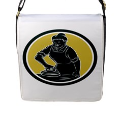 African American Woman Ironing Clothes Woodcut Flap Closure Messenger Bag (large) by retrovectors
