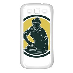 African American Woman Ironing Clothes Woodcut Samsung Galaxy S3 Back Case (white) by retrovectors