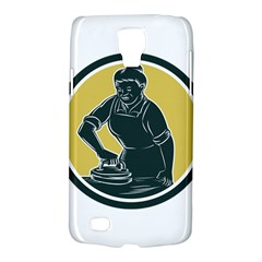African American Woman Ironing Clothes Woodcut Samsung Galaxy S4 Active (i9295) Hardshell Case by retrovectors