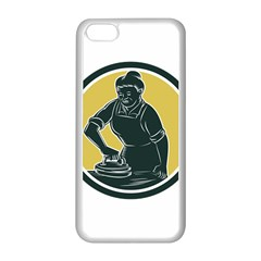 African American Woman Ironing Clothes Woodcut Apple Iphone 5c Seamless Case (white) by retrovectors