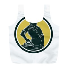 African American Woman Ironing Clothes Woodcut Reusable Bag (l) by retrovectors