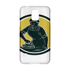 African American Woman Ironing Clothes Woodcut Samsung Galaxy S5 Hardshell Case  by retrovectors