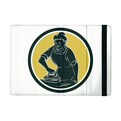 African American Woman Ironing Clothes Woodcut Apple Ipad Mini 2 Flip Case by retrovectors